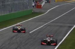 Jenson Button leads Sergio Perez
