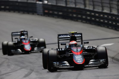 mclaren Jenson Button leads Fernando Alonso.