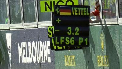 Il messaggio esposto a Vettel durante il GP d'Australia
