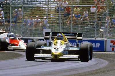 Fair Park, USA, 6th - 8th July 1984, RD9. Keke Rosberg, Williams FW09C-Honda, leads Alain Prost, McLaren MP4/2, on his way to victory. Action. Photo: LAT Photographic/Williams F1. Ref: 1984williams07