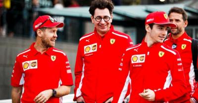 Binotto, Leclerc, Vettel, Ferrari, 2019